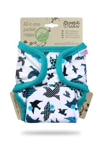 Turquoise Birds - Pocket Nappy (Snaps)