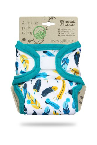 Turquoise Feathers - All In One Pocket Nappy (Hook & Loop)