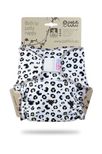 Second quality - Spots on White- One Size Nappy (Hook & Loop) - print fault