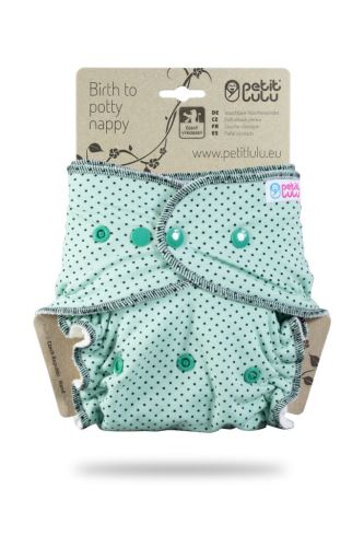 Small Black Dots on Mint - One Size Nappy (Snaps)