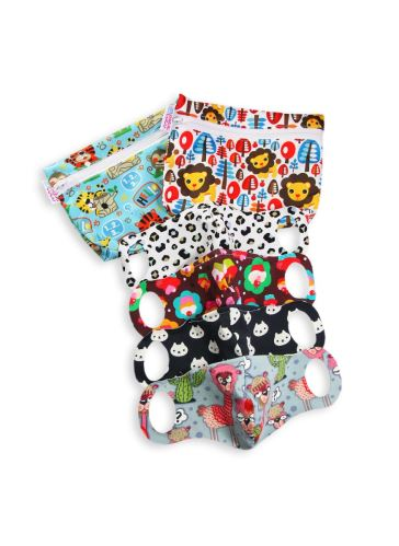 Practical Schoolchildren Face Mask 4 pack size XXS + 2 small wetbags (school jungle, king of the jungle)