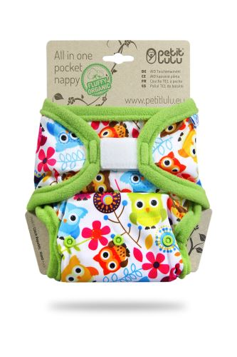 Happy Owls - Pocket Nappy (Hook & Loop)