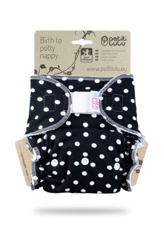 Big Dots on Black- One Size Nappy (Hook & Loop)