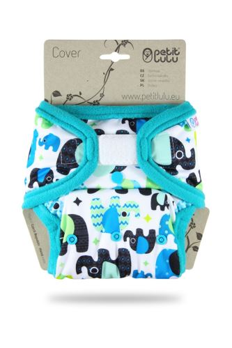 Baby Elephant (blue) - One Size Cover (Hook & Loop)