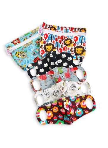 Practical Schoolchildren Face Mask 4 pack size XS + 2 small wetbags (school jungle, king of the jungle)