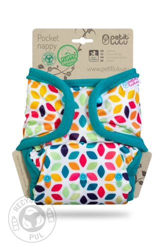 Floral Cubes - Pocket Nappy (Snaps)
