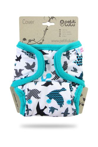 Second quality Turquoise Birds - One Size Cover (Snaps) - small hole