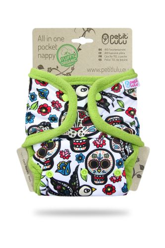 Mexican Skulls (on white) - All In One Pocket Nappy (Snaps)