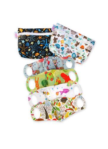 Practical Schoolchildren Face Mask 4 pack size XXS + 2 small wetbags (ocean, mushrooms)