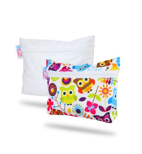 Happy Owls, White - Small Wetbag 2 Pack