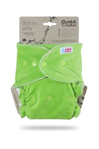 Second quality Green (velour) - Maxi Night Nappy (Snaps) - hole on velour