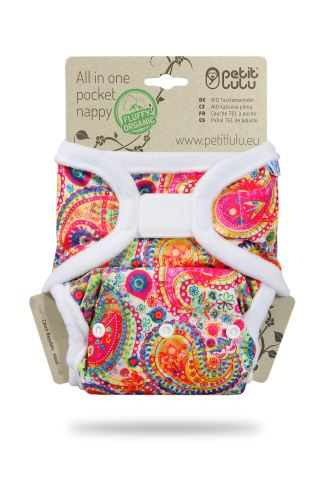 Colourful Orient - All In One Pocket Nappy (Hook & Loop)