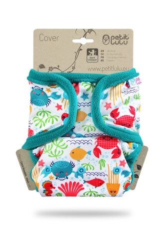 Lagoon (Turquoise hem) - One Size Prefold Cover  (Snap) - LIMITED EDITION