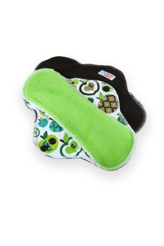 Second quality Apples (green) - Cloth pad STANDARD (CLASSIC) - aesthetic defect