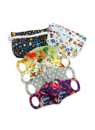 Practical Schoolchildren Face Mask 4 pack size XS + 2 small wetbags (ocean, mushrooms)