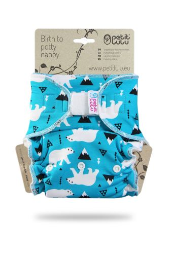 Second quality Polar Bears - One Size Nappy (Hook&Loop) - print fault