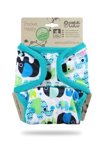 Baby Elephant (blue) - Pocket Nappy (Snaps)
