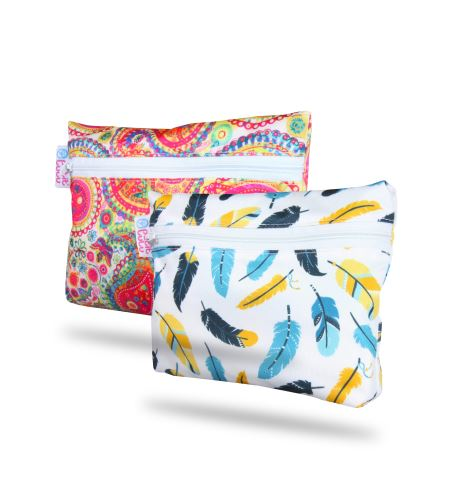 Colourful Orient, Turquoise Feathers - Small Wetbag 2 Pack