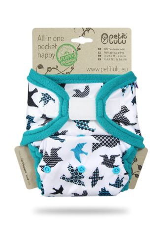 Turquoise Birds - All In One Pocket Nappy (Hook & Loop)