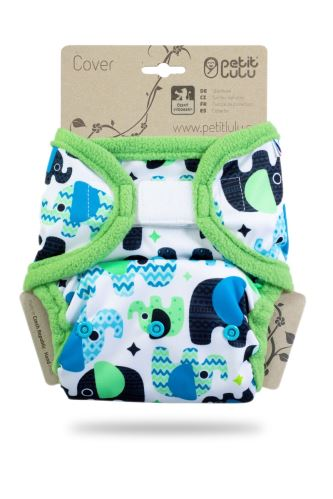 Baby Elephant Blue - One Size Prefold Cover (Hook & Loop)