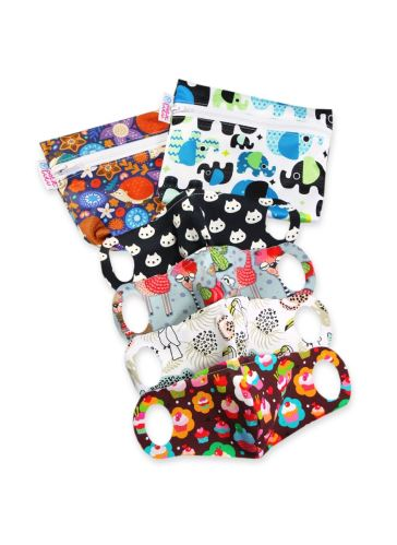 Practical Schoolchildren Face Mask 4 pack size XS + 2 small wetbags (hedgies, baby elephants blue)